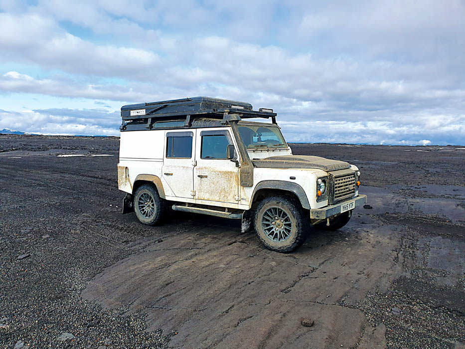 Defender in Iceland's volcanic fields