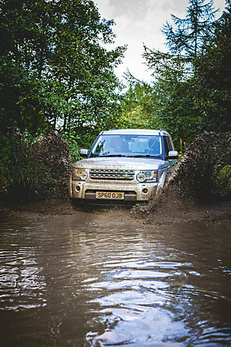 Discovery 4 at a muddy water crossing