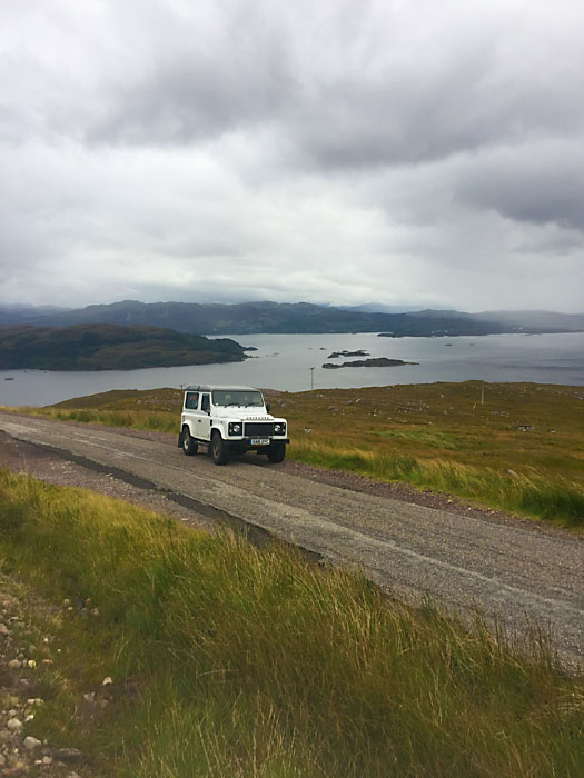 Defender 90 on the North Coast 500 route in Scotland