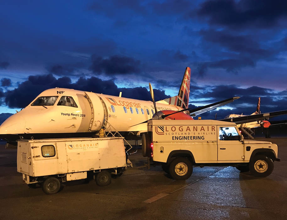 Defender at remote Scottish airport