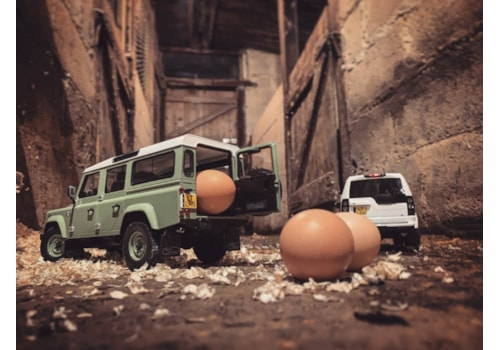 Miniature Land Rover Defender 110 and Discovery 4