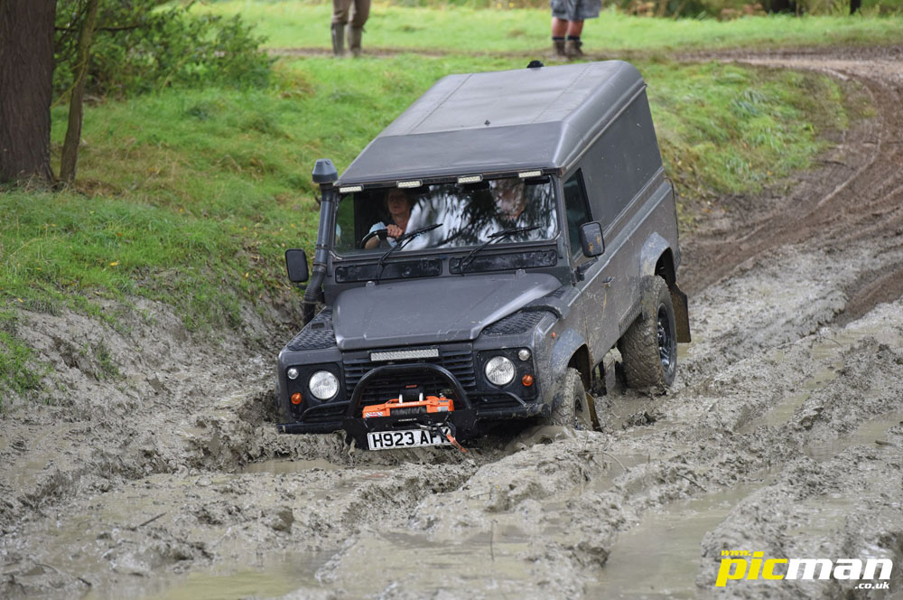 Defender on the mud run at Billing
