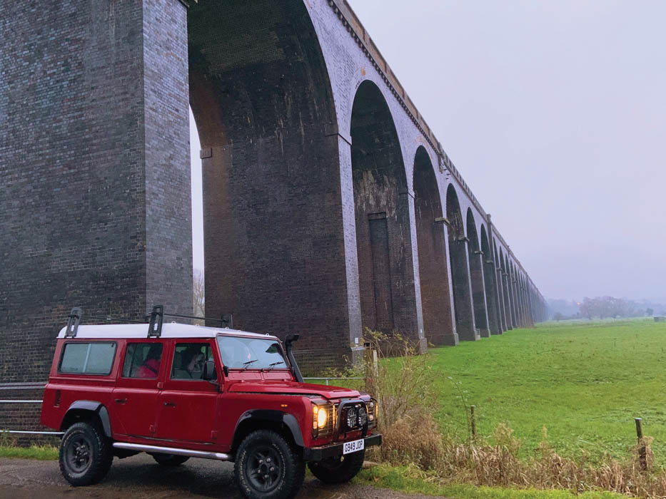 parked under a viaduct