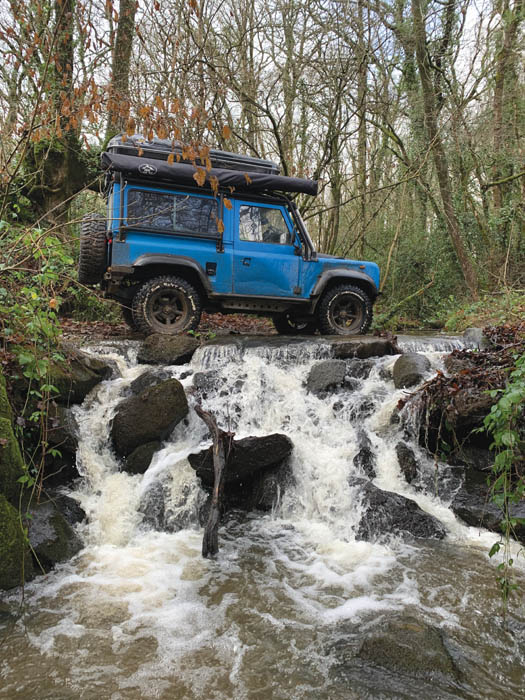 Water crossing in a Defender 90