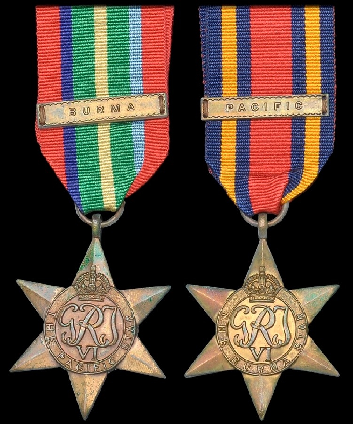 The obverse of the Pacific and Burma Stars, showing the two ribbon clasps which could also be awarded. The reverse was plain