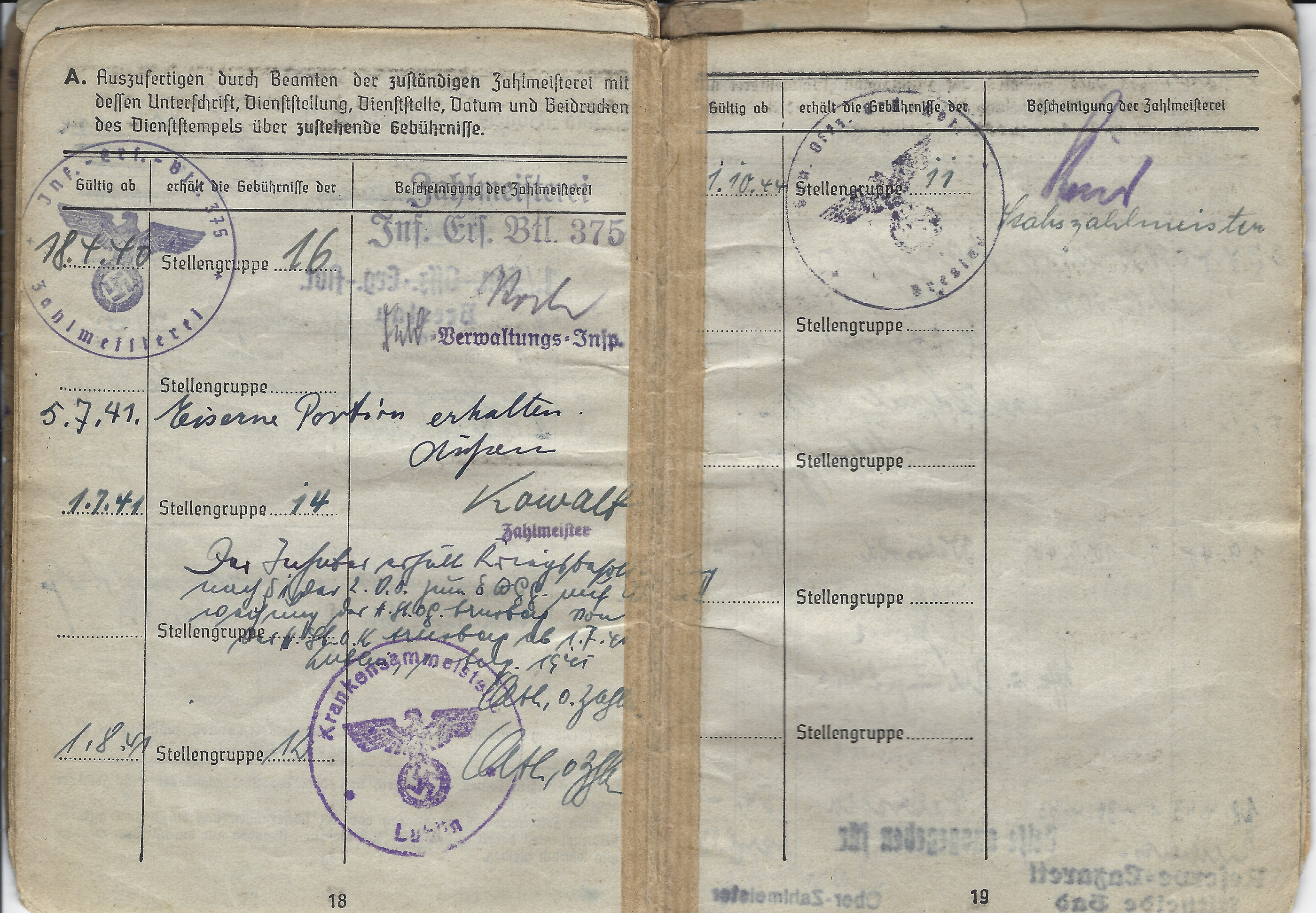 This soldier's pay groups correspond with his rank on the given dates, also note an iron ration was entered here in 1941