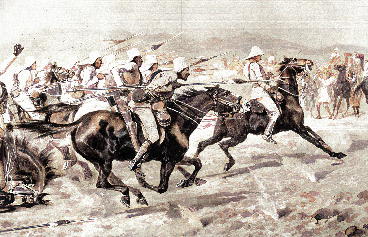 Egyptian cavalry in action at Akasha on 1 May 1896