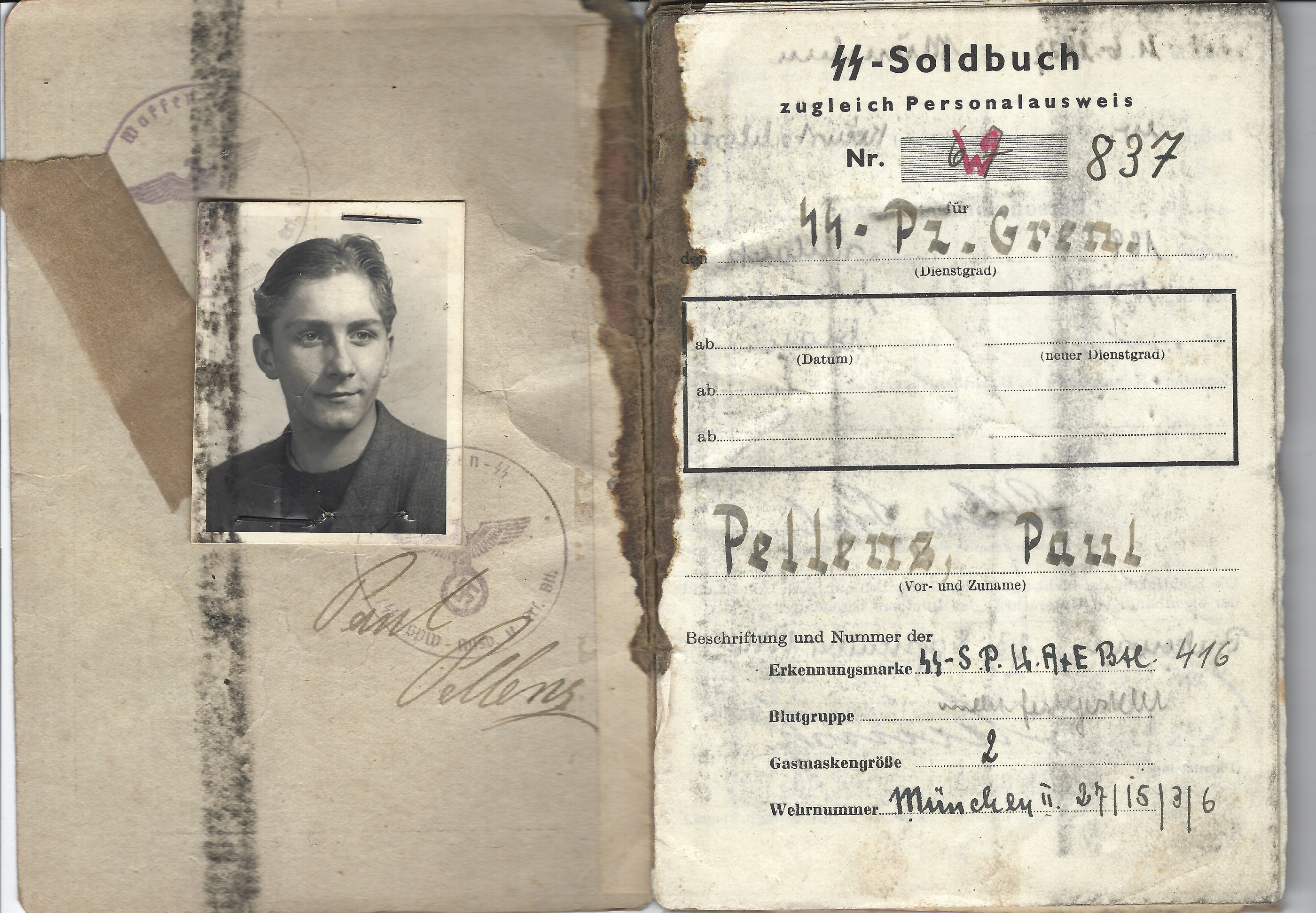 The blood-soaked SS Soldbuch of 18-year-old SS Panzer Grenadier Paul Pellens