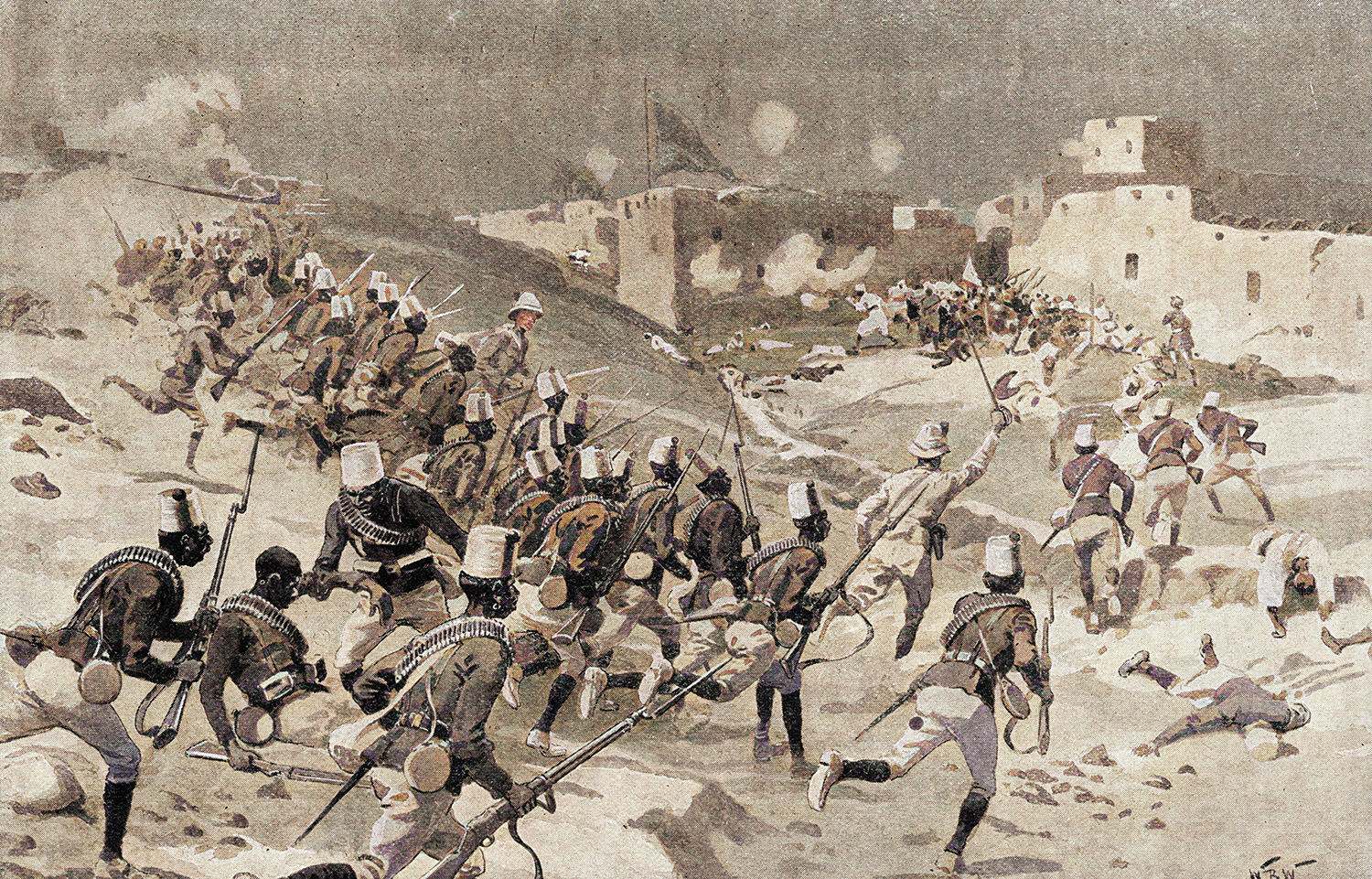 Sudanese troops charging during the Battle of Abu Hamed, fought on 7 August 1897