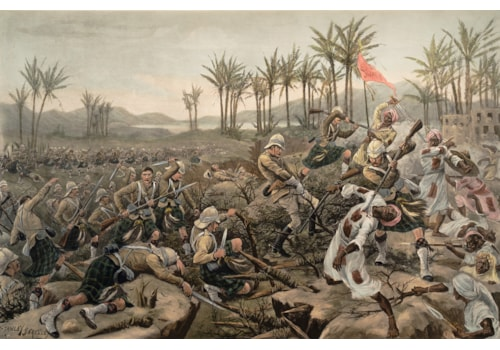 Men of the Cameron Highlanders assault Mahmud's zariba during the Battle of Atbara, fought on 8 April 1898