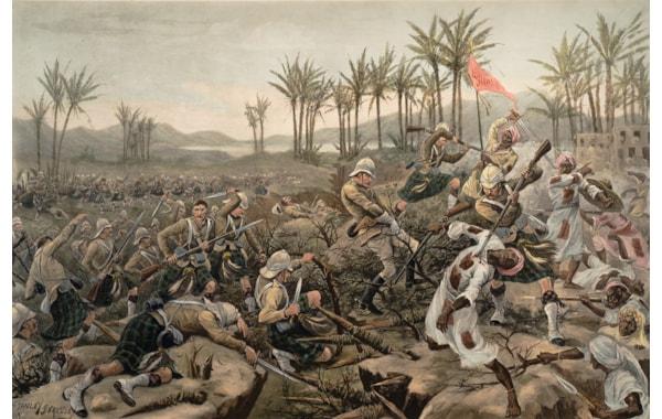 Men of the Cameron Highlanders assault Mahmud's zariba during the Battle of Atbara, fought on 8 April 1898