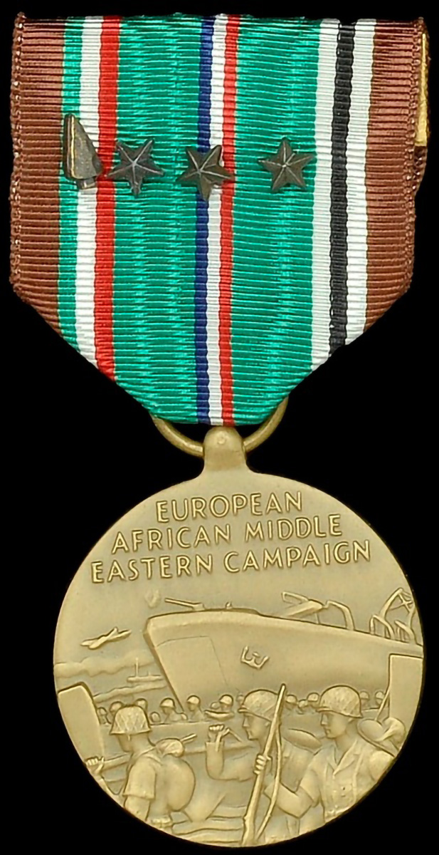 The US medal for campaign service in Europe, the Middle East and Africa. The bronze stars indicate participation in a designed major action and the bronze arrowhead participation in a glider or parachute assault