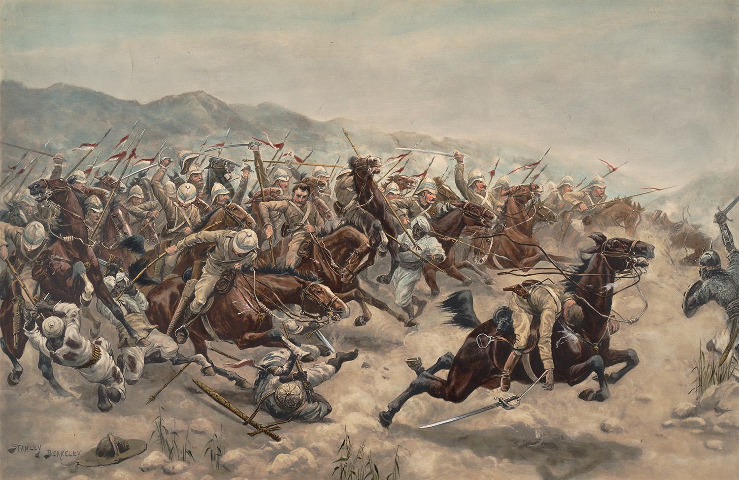 The epic charge of the 21st Lancers, which resulted in much loss amongst the cavalrymen and their horses; a young Winston Churchill took part (Anne S.K. Brown Military Collection)