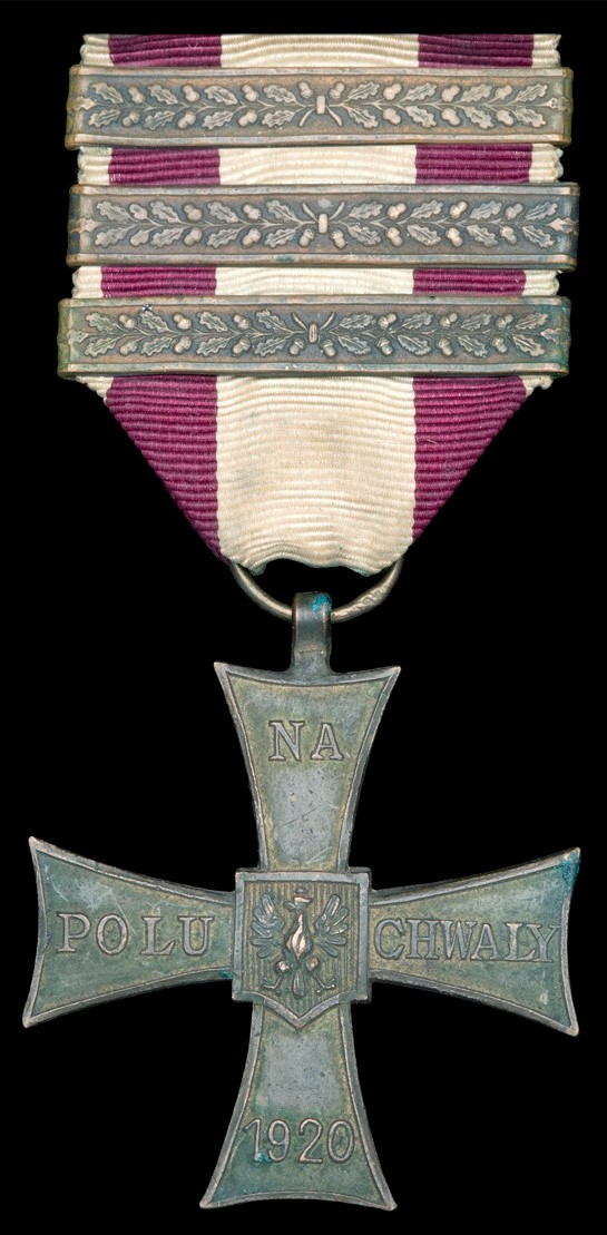 The Polish Cross of Valour, with the maximum three extra award bars - a remarkable testimony to the recipients gallantry