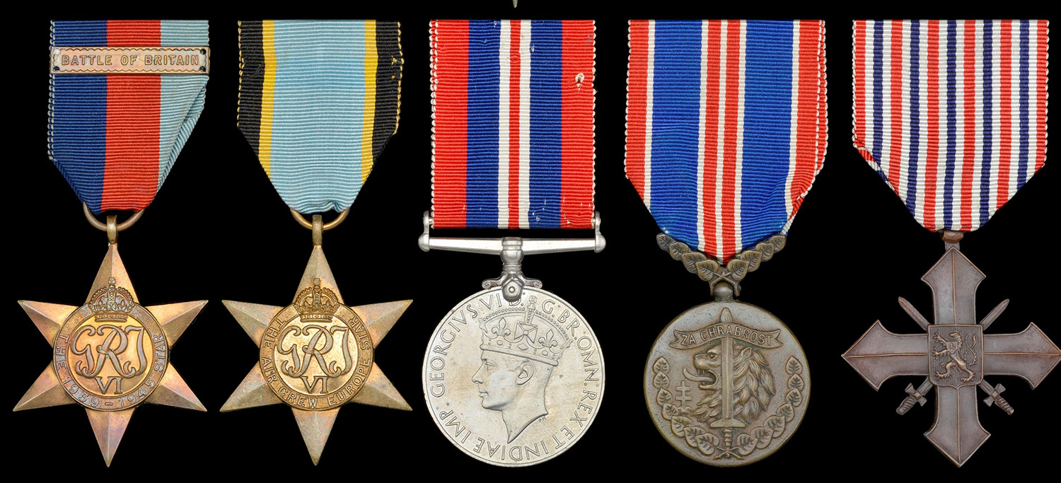 A Battle of Britain pilot's group with medal and clasp and two Czech awards - the Medal of Bravery and the War Cross