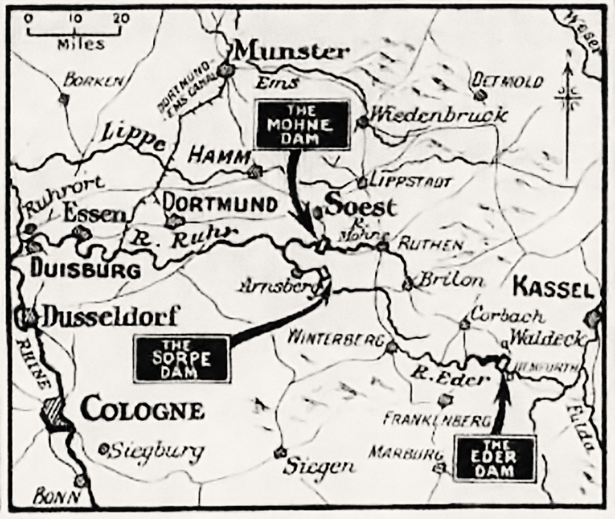 A map of the three dams: the Möhne, Eder and Sorpe