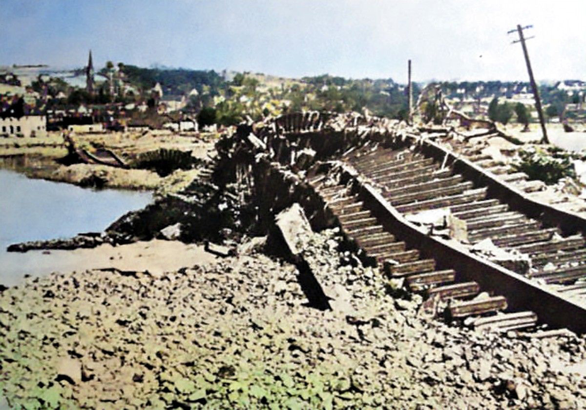The force of the water was so powerful that railway lines were ripped from their foundations
