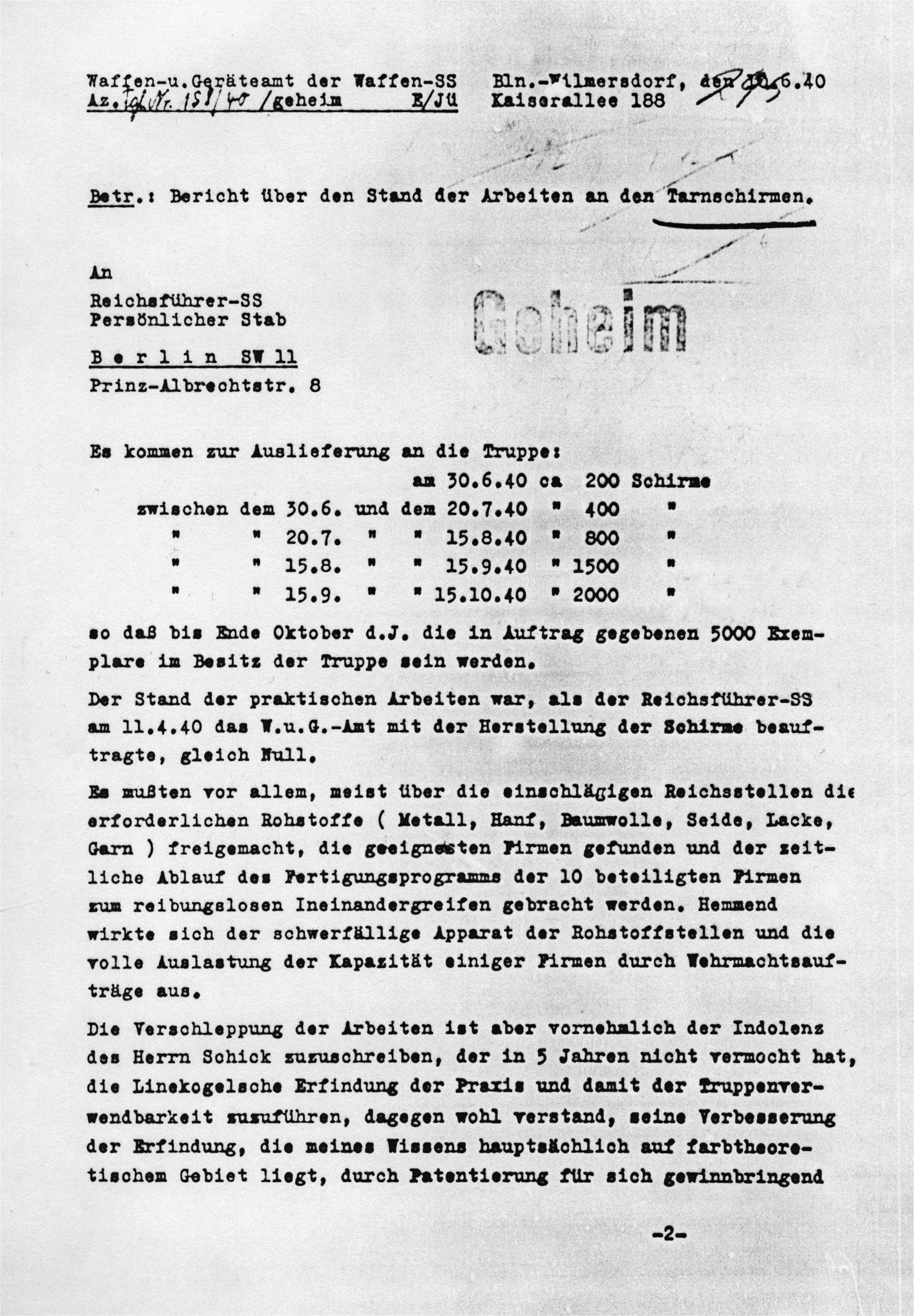Letter from 10 June 1940 with planned delivery dates and numbers