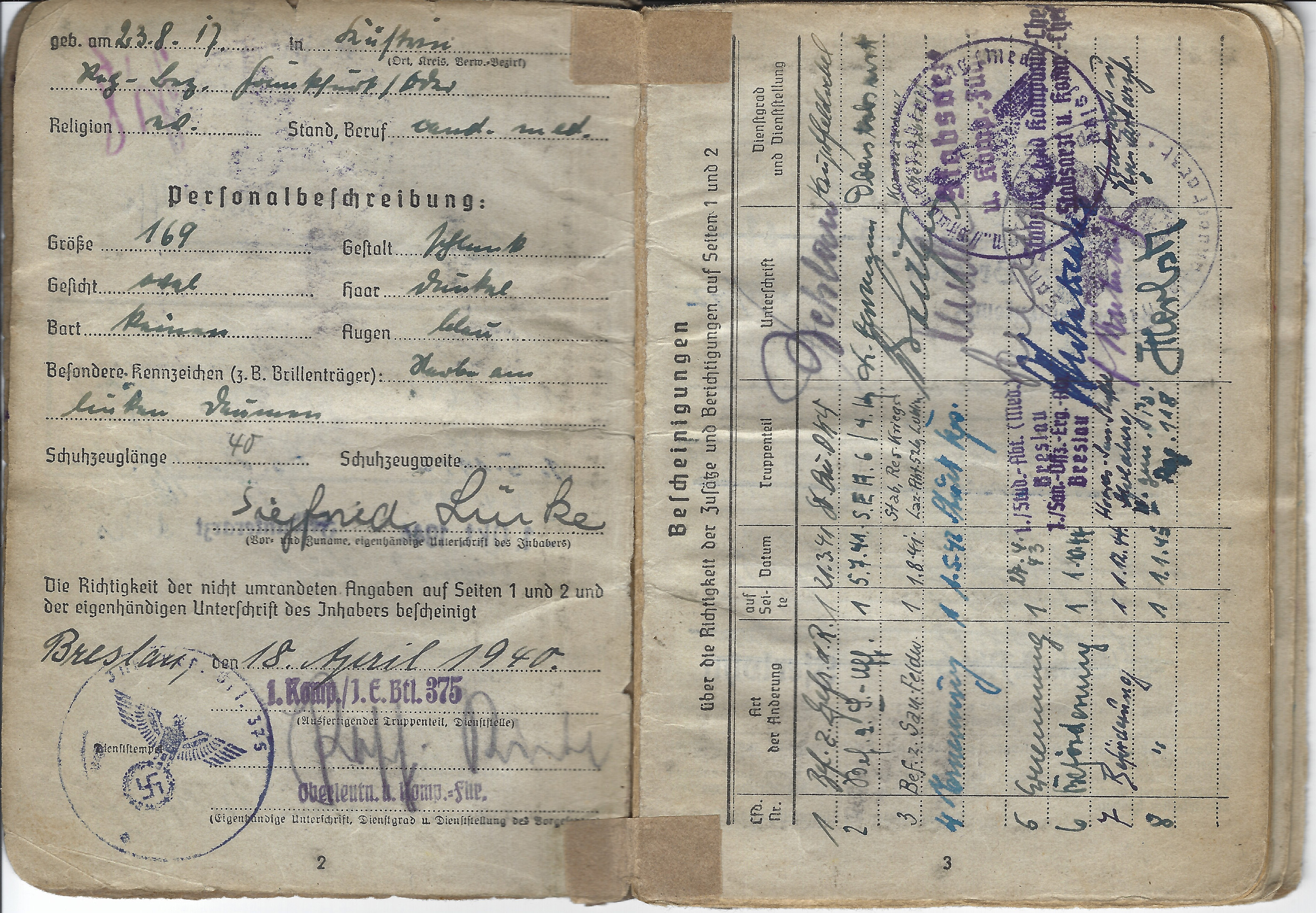 Here you will find the soldier's personal details, and the issuing unit of the Soldbuch