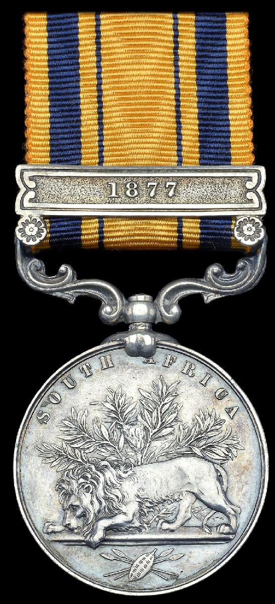 Examples of the South Africa medal with various dated clasps for earlier frontier campaigns, including the rare 1877 clasp