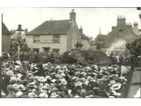 The tank arriving in the village 100 years ago