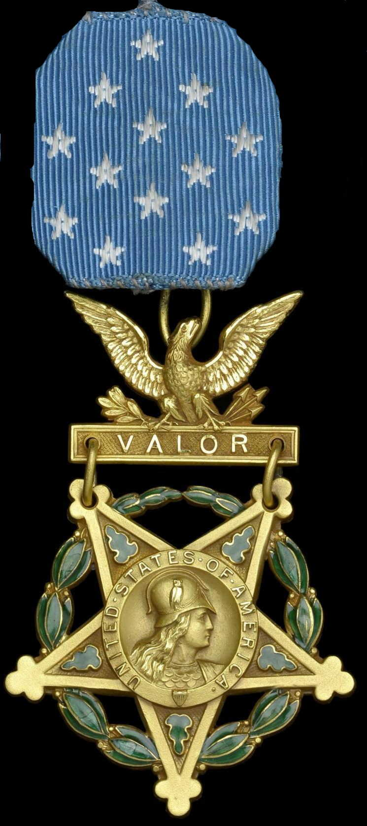 The US Medal of Honor – the highest US award for gallantry in action. This is the pre-1945 breast badge; since 1945, it has been worn as a neck badge