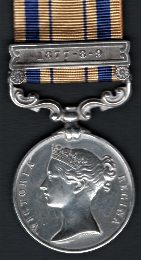 Medal with clasp 1877-8-9 as awarded to many men who served in the Zulu War in 1879 (e.g. in the 24th Regiment) and had seen extended frontier service