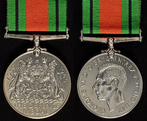 The Defence Medal, showing its obverse and reverse