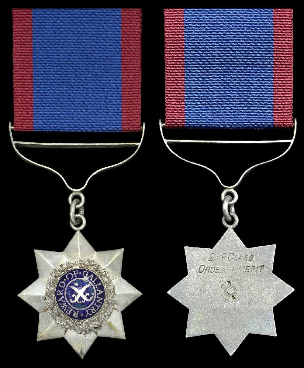 The Indian Order of Merit. The 2nd Class breast badge of the amended 1939-44 version, with 'Reward of Gallantry' instead of 'Reward of Valor' as its centre legend