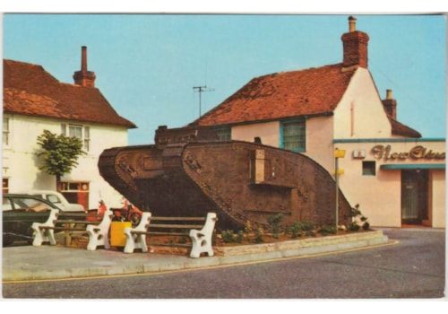 The 100 year old tank is on display in the village today