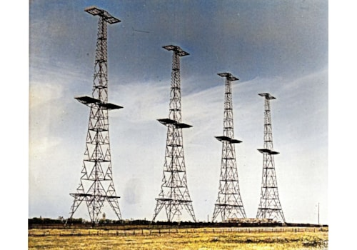 The four steel 364ft RDF transmitting towers erected on the coast at Swingate Dover, which formed part of the Chain-Home radar stations along Britain's coast (Dover Museum)