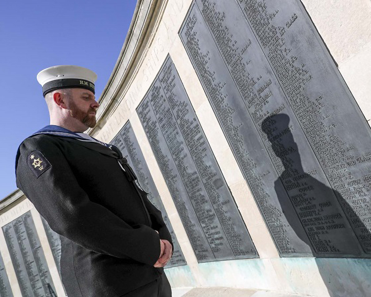 Able Seaman Writer Submariner Jamie Martin came to the Portsmouth Naval Memorial to remember those who have fallen for us during WWI and WWII.