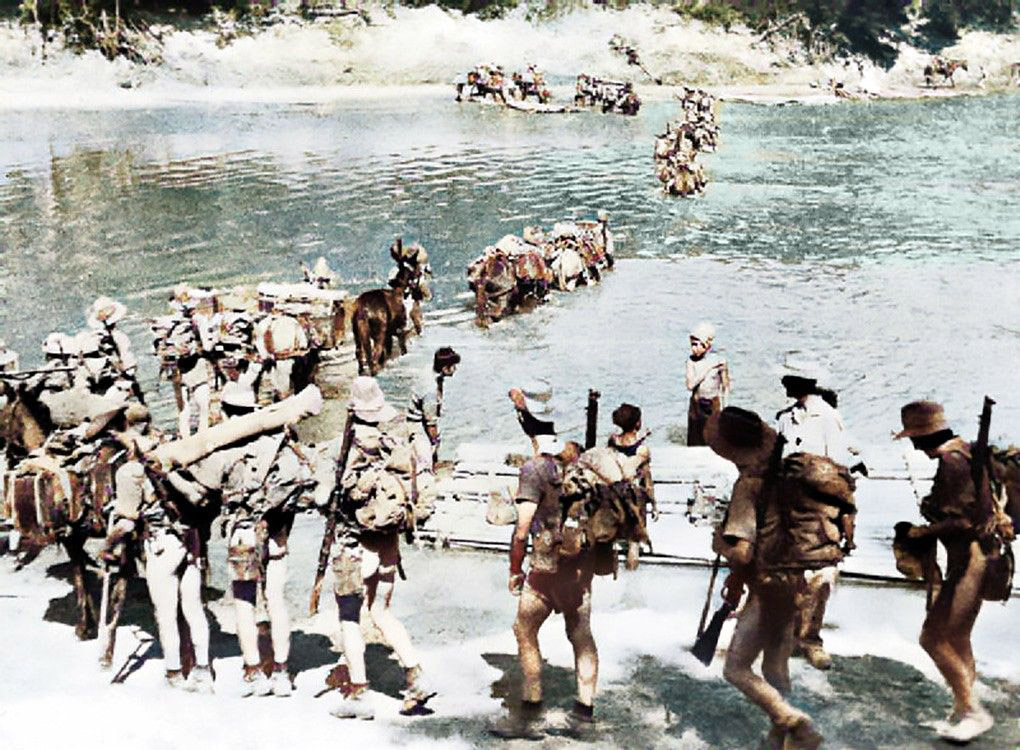 The Chindits crossing a river