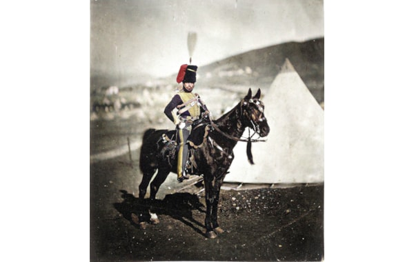 Photograph by Roger Fenton shows an officer of the 11th (Prince Albert's Own) Hussars, Henry Wilkin, who survived the charge