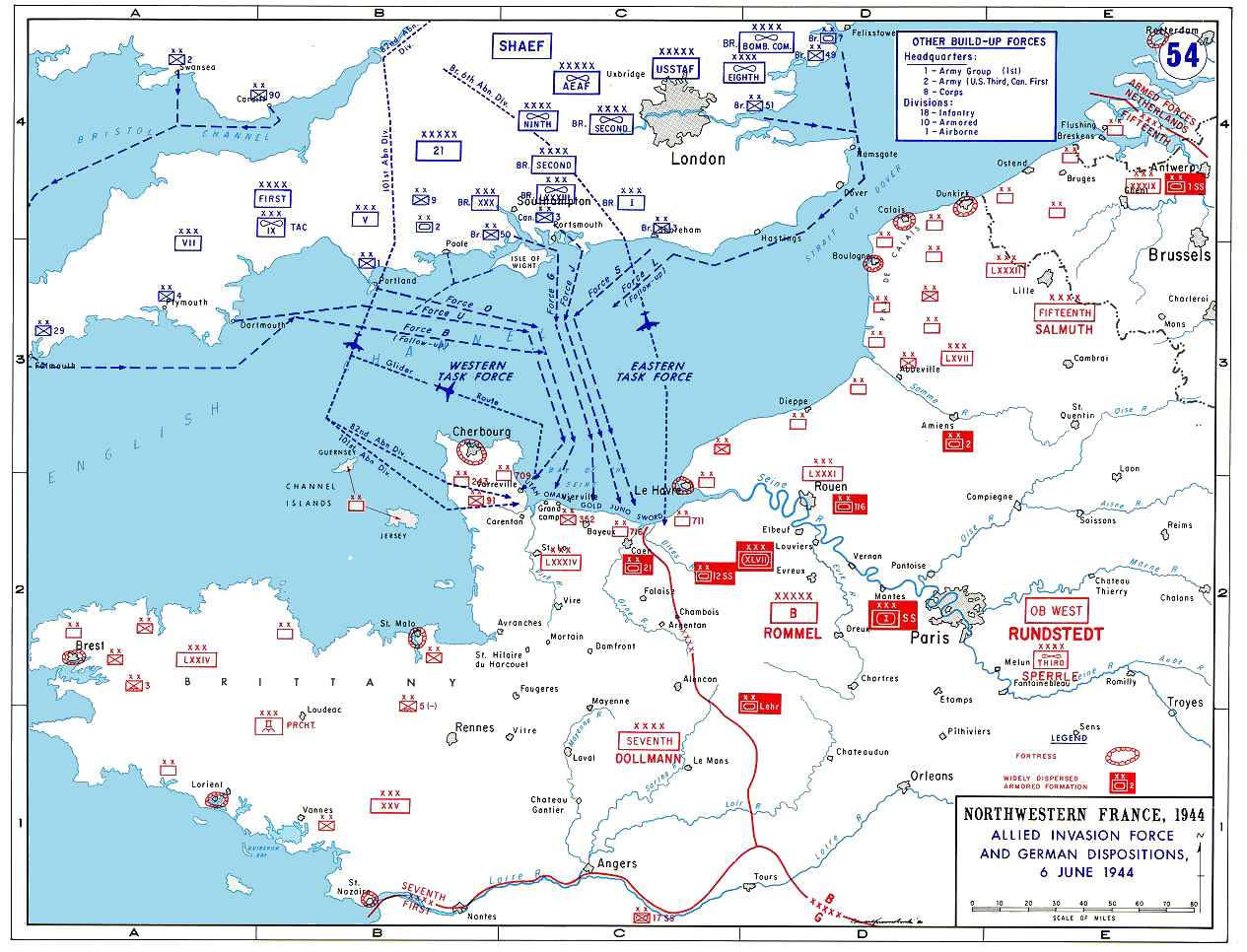 Map showing the disposition of forces during D-Day