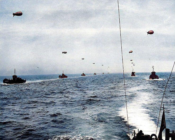 The fleet approaches the coastline