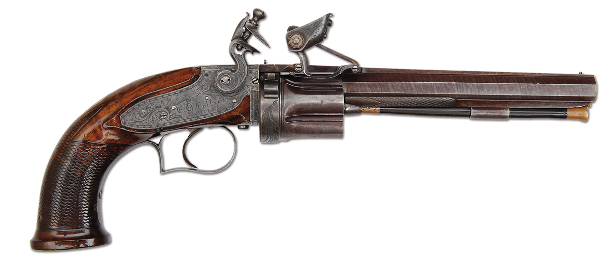 Collier flintlock revolver from the right side, showing the cylinder and ingenious frizzen, which allowed repeated recharging of the ignition system