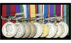 Falklands War group of nine including a DCM