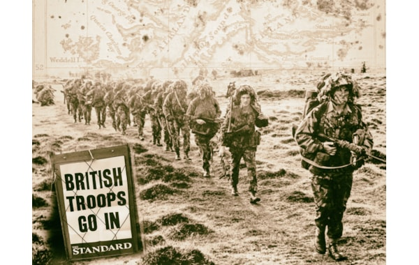 British troops go in to retake the Falkland Islands