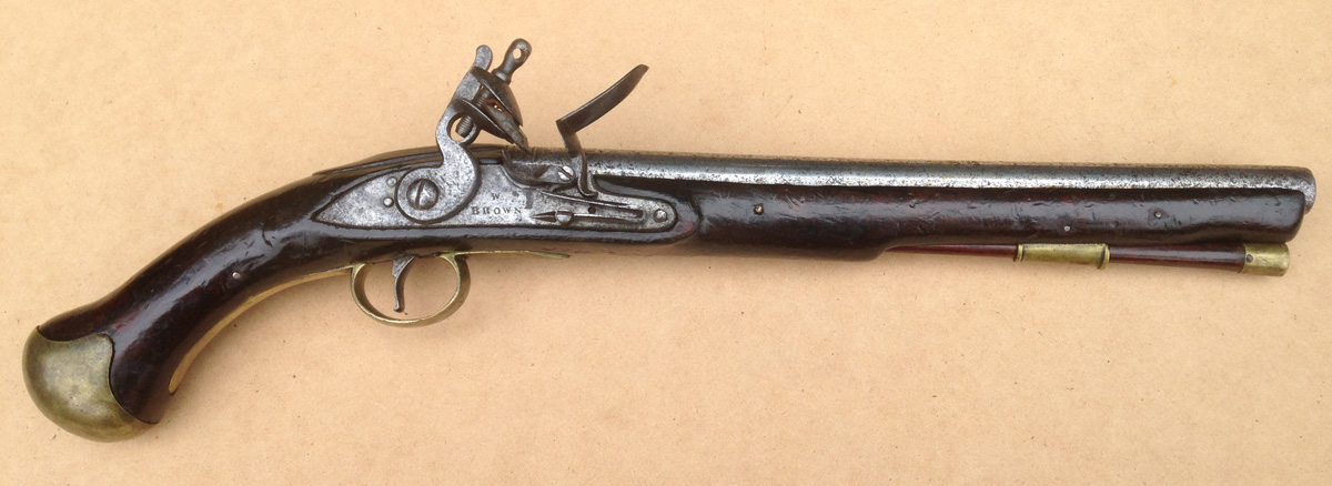 Right-hand side of the pistol showing the name, 'W Brown'