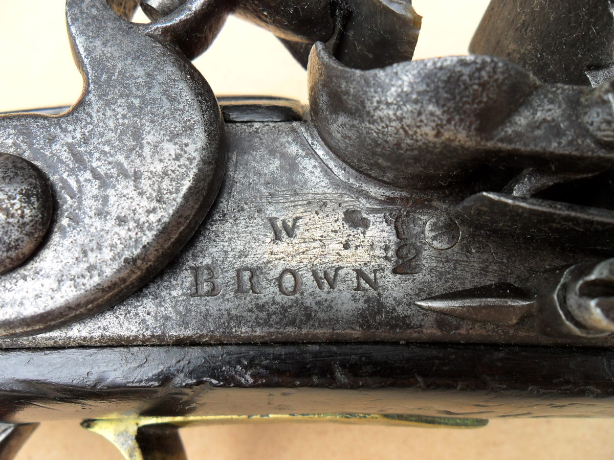 The lock plate with crown over '2' inspector's acceptance marks and 'W BROWN', the maker