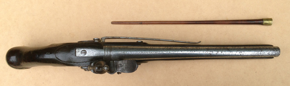 Top view of the pistol with original ramrod alongside