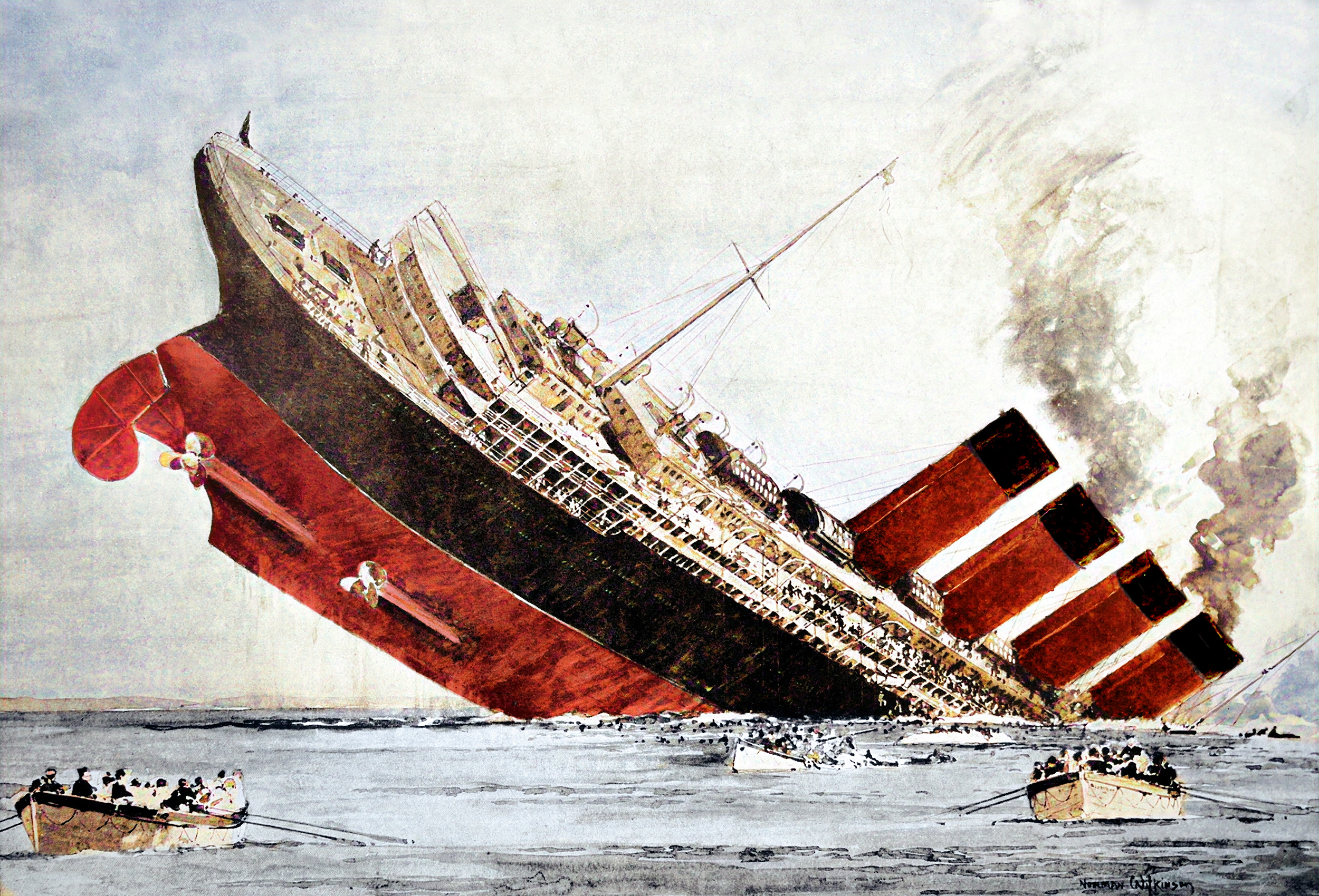 The Lusitania after being torpedoed