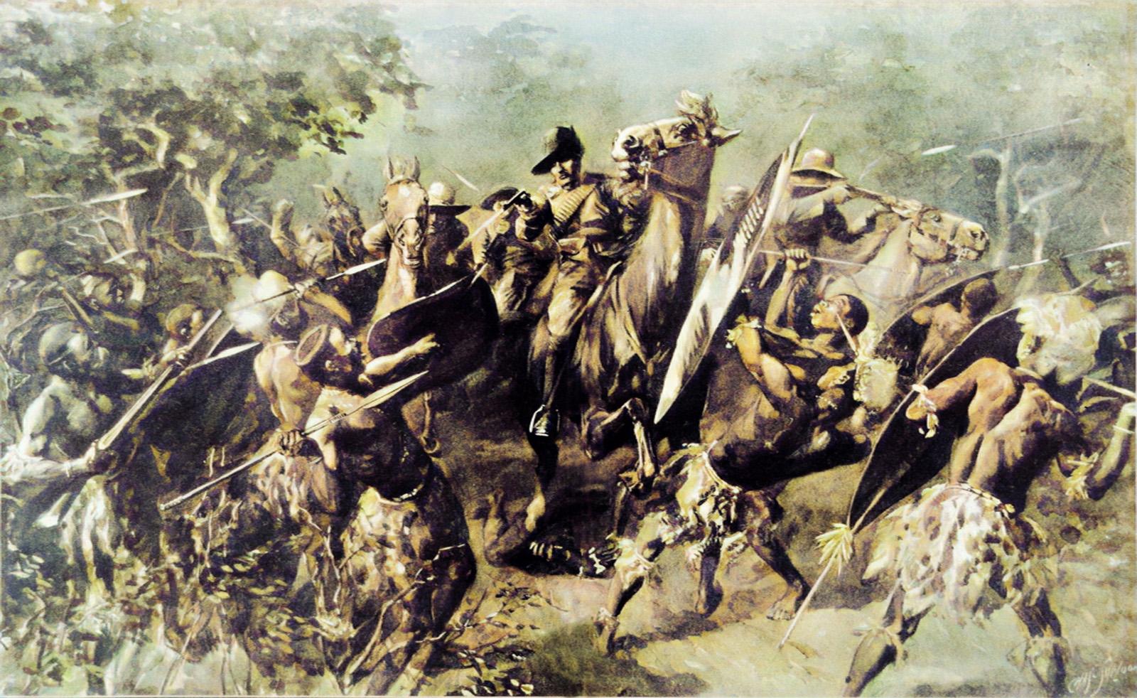 The outbreak of the rebellion - Bambatha's warriors ambush a police patrol at Mpanza on 4 April 1906