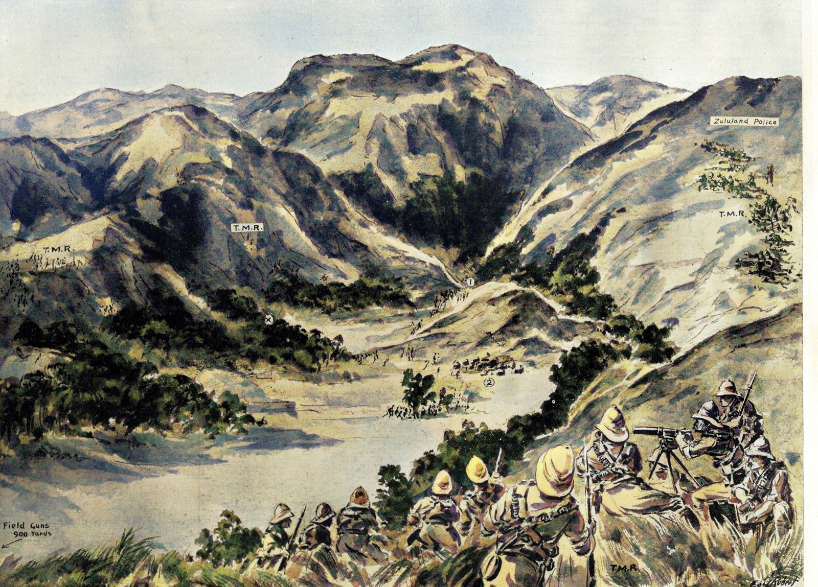 Barker's men open fire on the surprised rebels, most of whom fled through the narrow entrance to the gorge in the centre of the picture only to meet McKenzie's troops further down