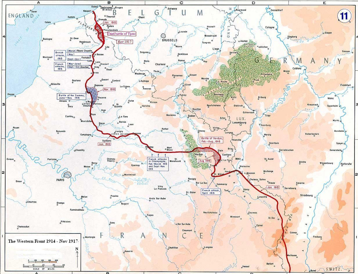 Map of the Western Front showing the positions of Allied and German forces between 1915 and 1917