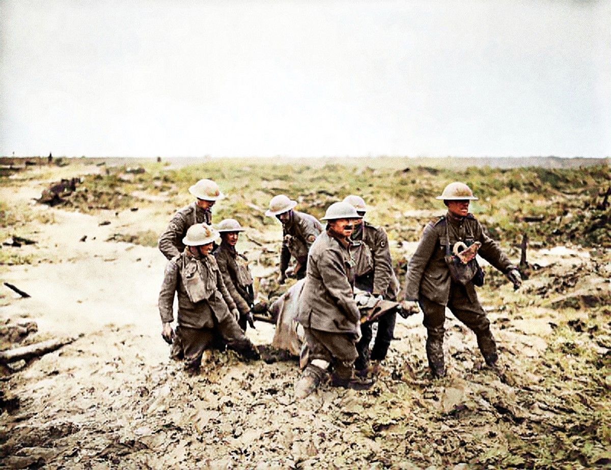 Stretcher bearers at Pilckem Ridge during the attack on 1 August 1917