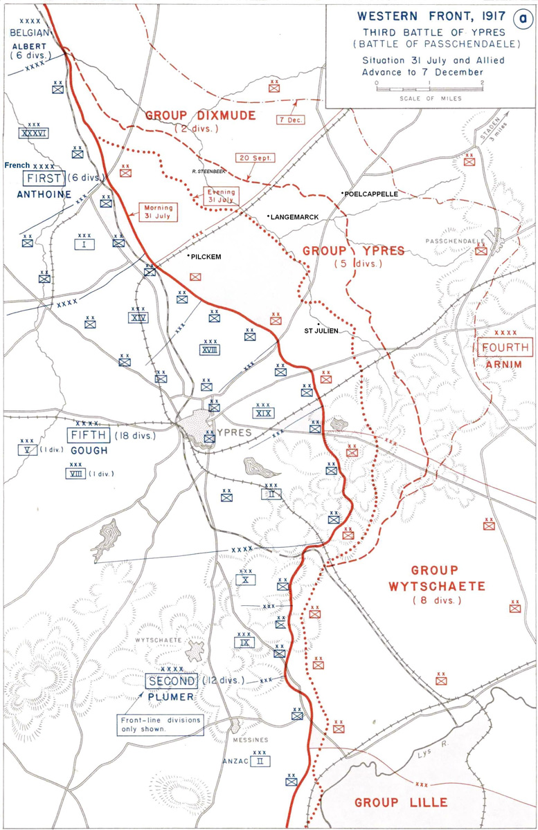 Map of the progress made between July and December 1917, during the Third Battle of Ypres
