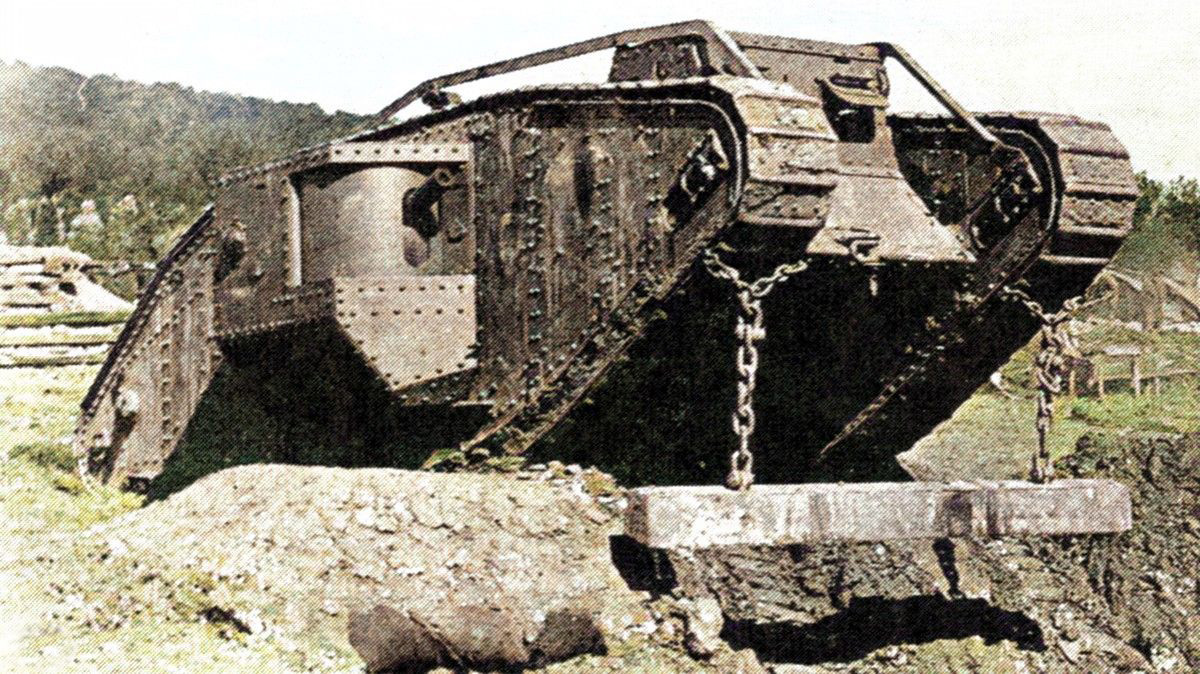 Mark IV tank which saw service at Messines Ridge, fitted with an unditching beam