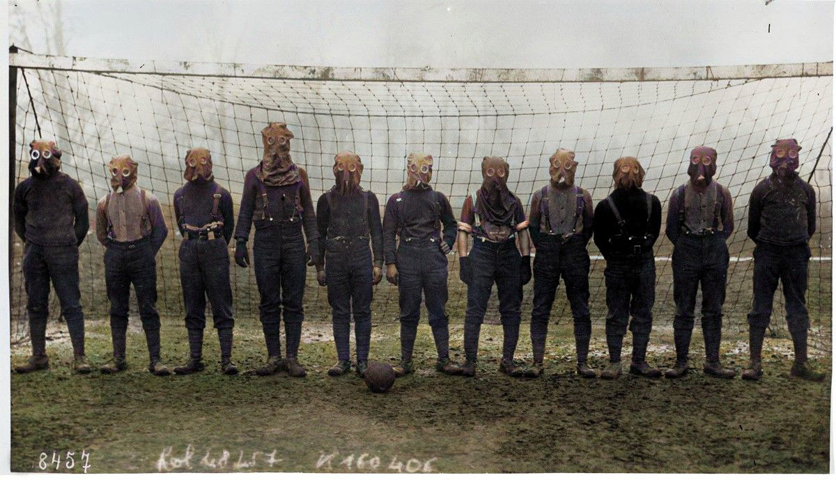 British Army football team in gas masks, in a photograph taken sometime in 1916